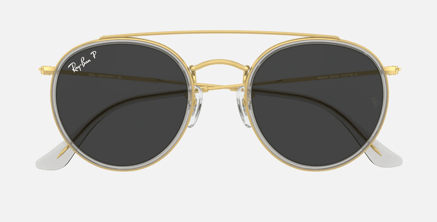 RAY-BAN Round Double Bridge Shiny Gold - Black Classic Polarized Sunglasses SUNGLASSES - Ray-Ban Sunglasses Ray-Ban