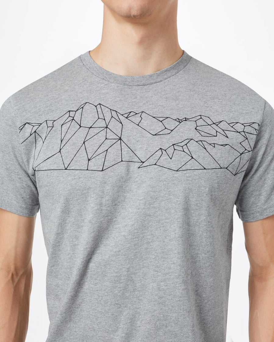 TENTREE Geo Mountain Classic T-Shirt Heather Grey MENS APPAREL - Men's Short Sleeve T-Shirts Tentree