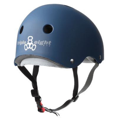 TRIPLE EIGHT Certified Sweatsaver Skateboard Helmet Navy Rubber SKATE SHOP - Skateboard Helmets Triple Eight