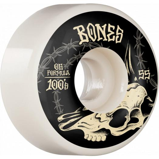 BONES 100's Desert Skull V4 Wides 100A 55mm Skateboard Wheels SKATE SHOP - Skateboard Wheels Bones
