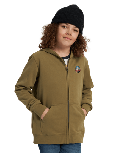 BURTON Retro Mountain Full Zip Hoodie Boys Martini Olive KIDS APPAREL - Boy's Zip Hoodies Burton