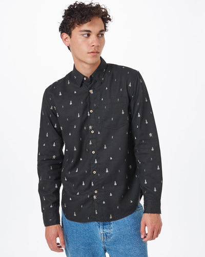 TENTREE Sasquatch Mancos Long Sleeve Button Up Shirt Meteorite Black Sasquatch Print MENS APPAREL - Men's Long Sleeve Button Up Shirts Tentree