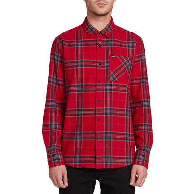 VOLCOM Caden Plaid Flannel Engine Red MENS APPAREL - Men's Long Sleeve Button Up Shirts Volcom L