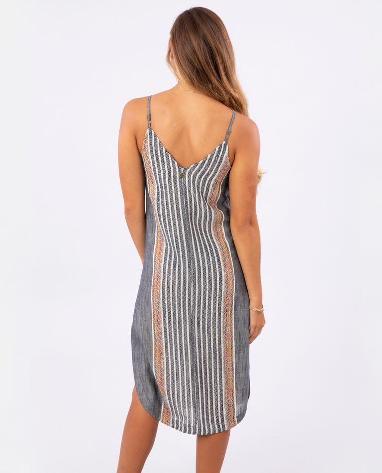 RIP CURL Baja Stripe Midi Dress Women's Black WOMENS APPAREL - Women's Dresses Rip Curl