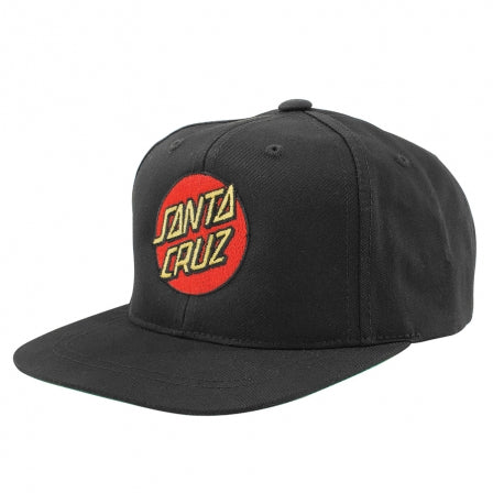 SANTA CRUZ Classic Dot Snapback Hat Kids Black KIDS APPAREL - Boy's Hats Santa Cruz
