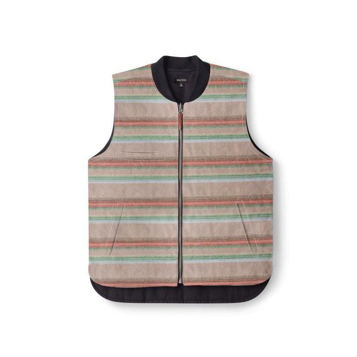 BRIXTON Abraham Reversible Vest Black MENS APPAREL - Men's Street Jackets Brixton