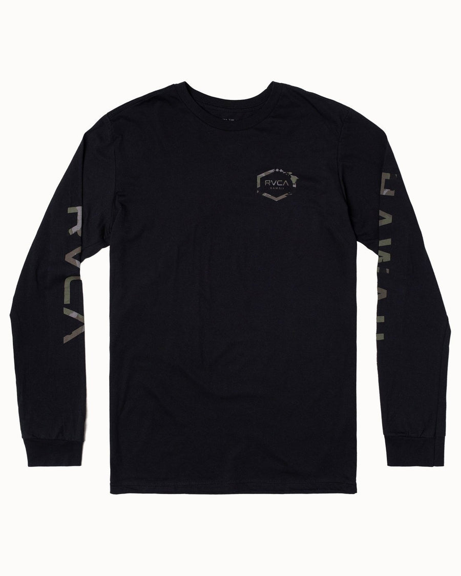 RVCA Island Hex Long Sleeve T-Shirt Black MENS APPAREL - Men's Long Sleeve T-Shirts RVCA