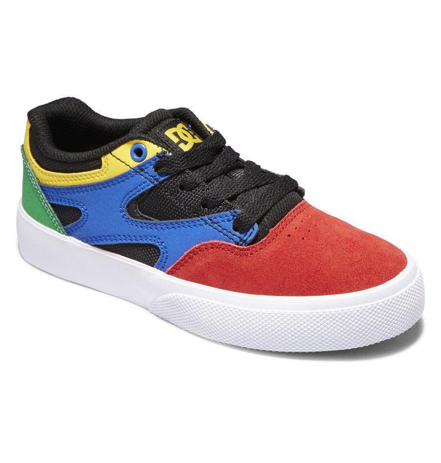 DC Kalis Vulc Shoes Youth Black/Multi FOOTWEAR - Youth and Toddler Skate Shoes DC