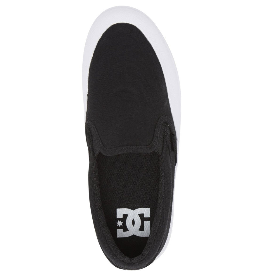 DC Infinite Slip On Shoes Youth Black/White FOOTWEAR - Youth and Toddler Skate Shoes DC