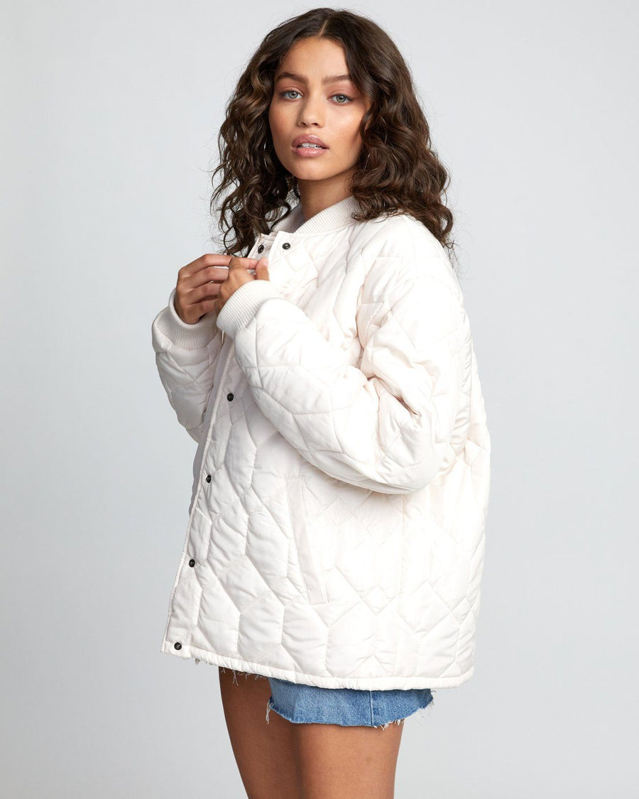 RVCA Downtown Quilted Bomber Jacket Women's Oat WOMENS APPAREL - Women's Street Jackets RVCA