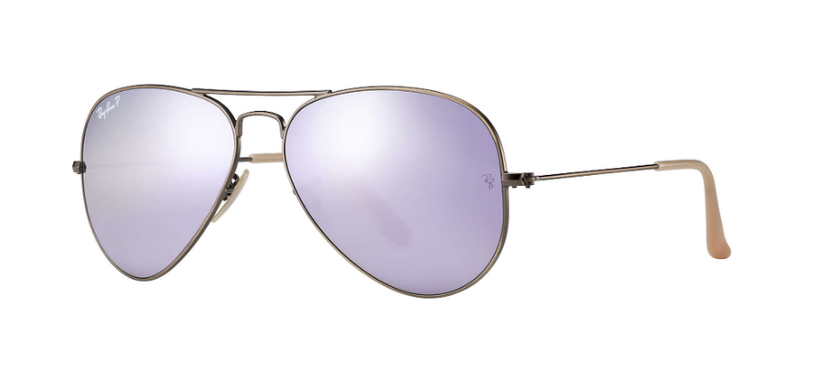 RAY-BAN Aviator Flash 58 Brushed Bronze - Lilac Flash Polarized Sunglasses SUNGLASSES - Ray-Ban Sunglasses Ray-Ban