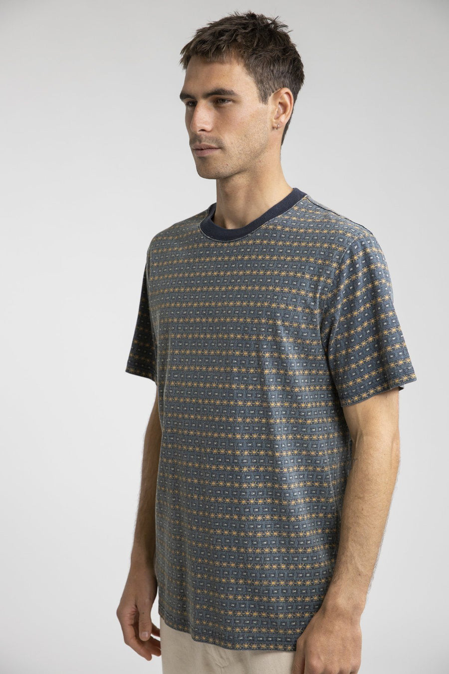 RHYTHM Tribe Stripe T-Shirt Indigo MENS APPAREL - Men's Short Sleeve T-Shirts Rhythm