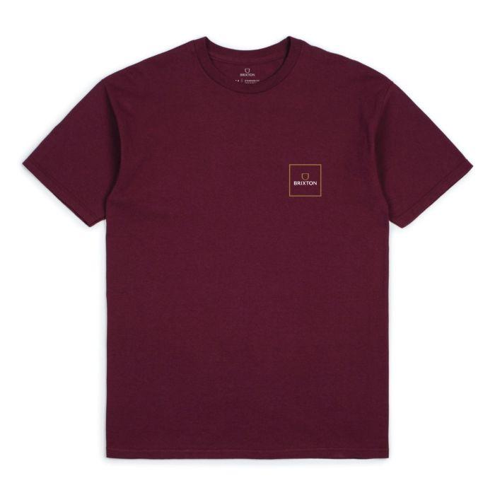 BRIXTON Alpha Block T-Shirt Burgundy MENS APPAREL - Men's Short Sleeve T-Shirts Brixton
