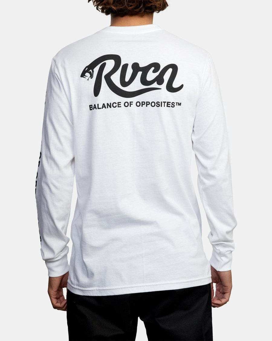 RVCA Hiss Long Sleeve T-Shirt White MENS APPAREL - Men's Long Sleeve T-Shirts RVCA M