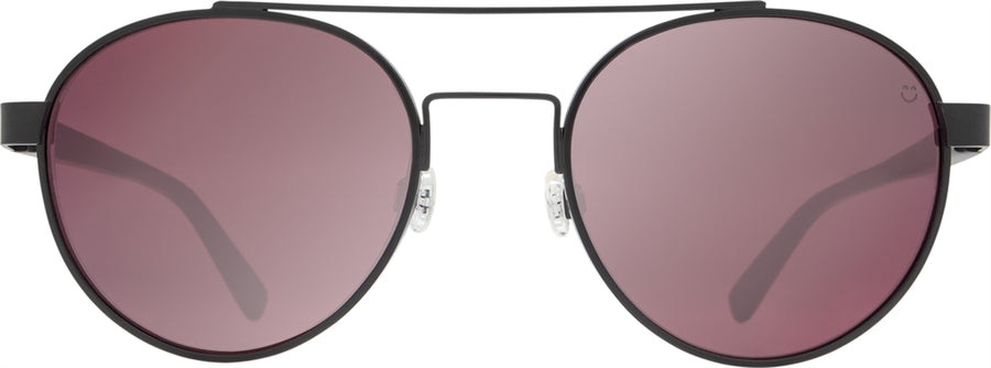 SPY Deco Matte Black - Happy Rose w/ Light Silver Spectra Mirror Sunglasses