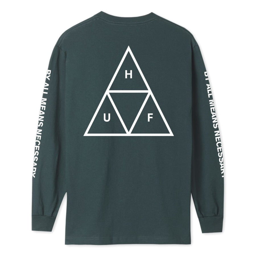 HUF Triple Triangle L/S T-Shirt Sycamore MENS APPAREL - Men's Long Sleeve T-Shirts huf