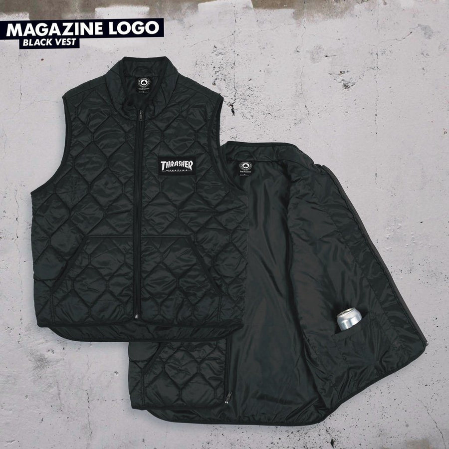 THRASHER Magazine Logo Vest Black MENS APPAREL - Men's Street Jackets Thrasher