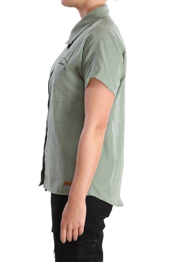 PLENTY Zoe Button Down Shirt Women's Sage