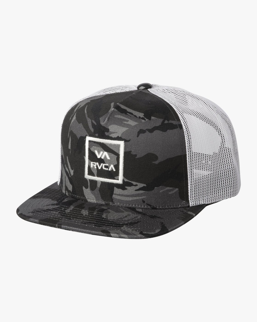 RVCA VA ATW Trucker Hat Boys Black Camo/ White KIDS APPAREL - Boy's Hats RVCA