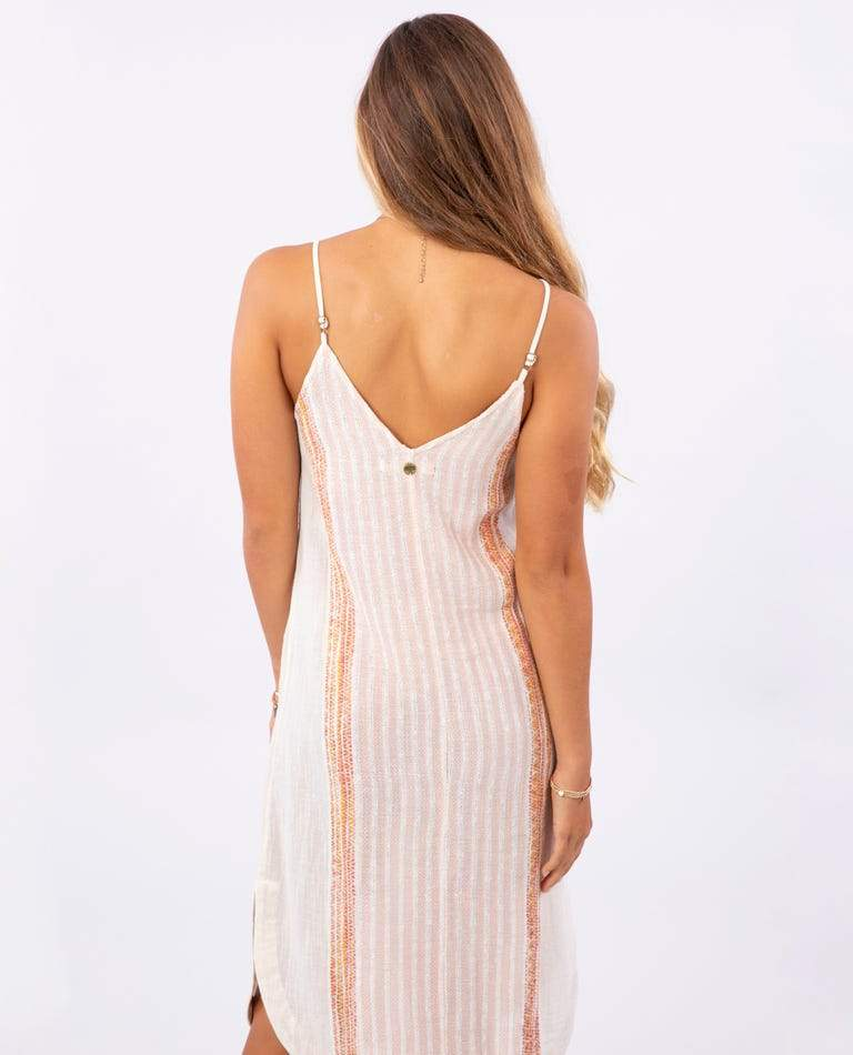 RIP CURL Baja Stripe Midi Dress Women's Bone WOMENS APPAREL - Women's Dresses Rip Curl