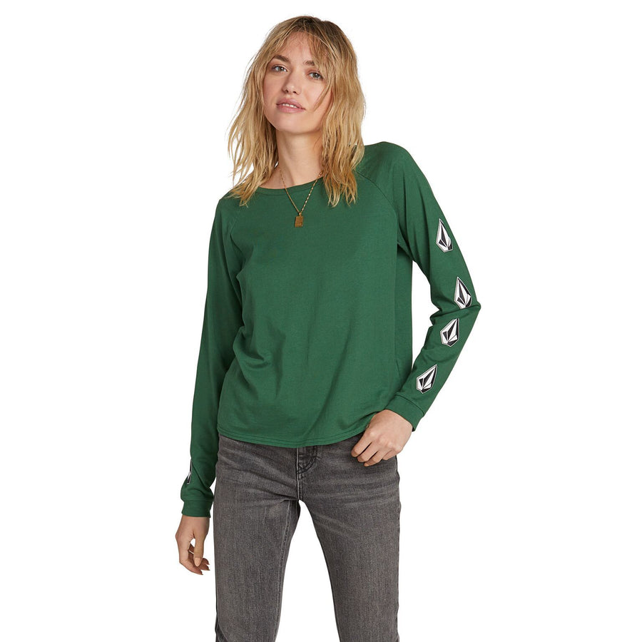 VOLCOM Deadly Stones L/S T-Shirt Women's Green WOMENS APPAREL - Women's Long Sleeve T-Shirts Volcom M