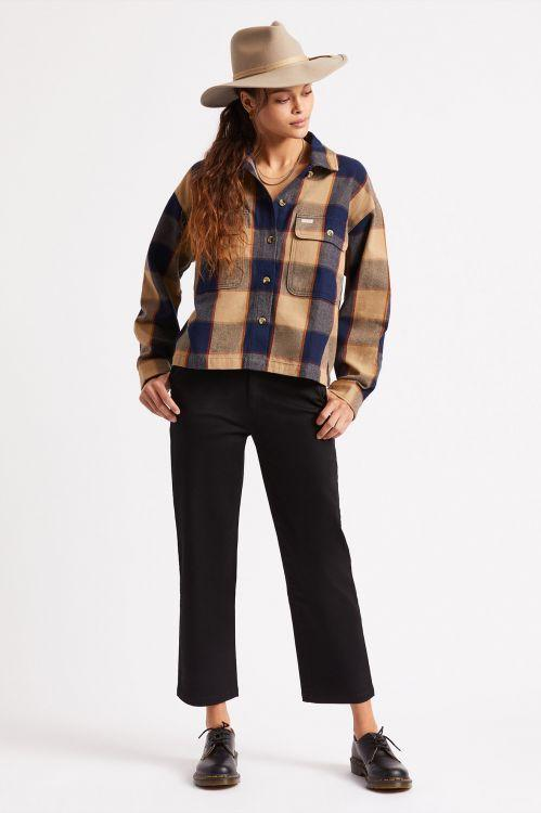 BRIXTON Bowery Flannel Women's Khaki WOMENS APPAREL - Women's Flannels and Button Ups Brixton