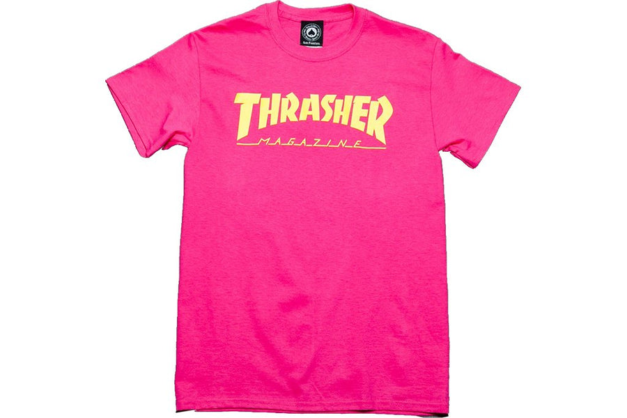 THRASHER Magazine Logo T-Shirt Pink MENS APPAREL - Men's Short Sleeve T-Shirts Thrasher