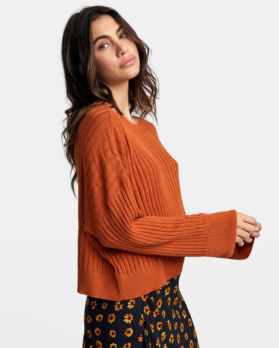 RVCA Sydney Sweater Women's Dark Orange WOMENS APPAREL - Women's Knits and Sweaters RVCA