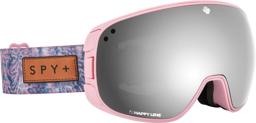 SPY Bravo Native Nature Pink - Happy Grey Green with Silver Spectra + Happy Yellow with Lucid Green Snow Goggle