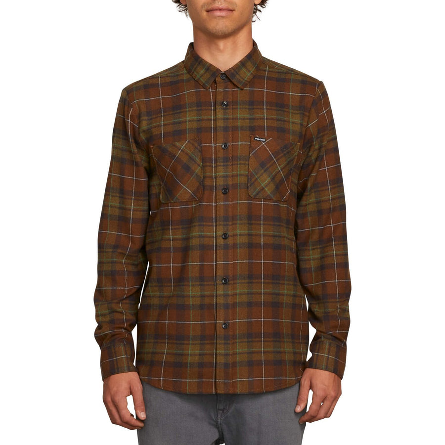 VOLCOM Lumber Flannel Vineyard Green MENS APPAREL - Men's Long Sleeve Button Up Shirts Volcom L
