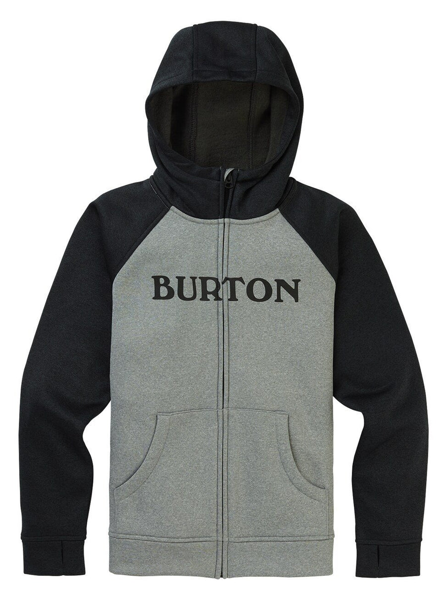 BURTON Oak Full Zip Hoodie Boys Grey Heather KIDS APPAREL - Boy's Zip Hoodies Burton
