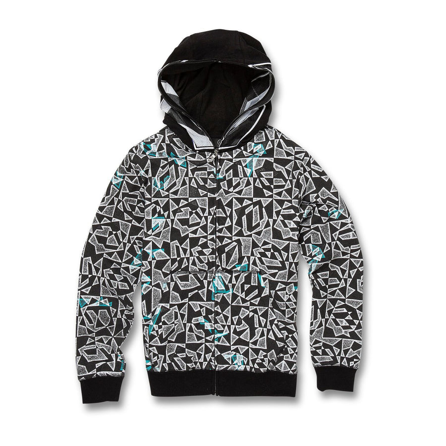 VOLCOM Cool Stone Full Zip Hoodie Boys Black/White KIDS APPAREL - Boy's Zip Hoodies Volcom