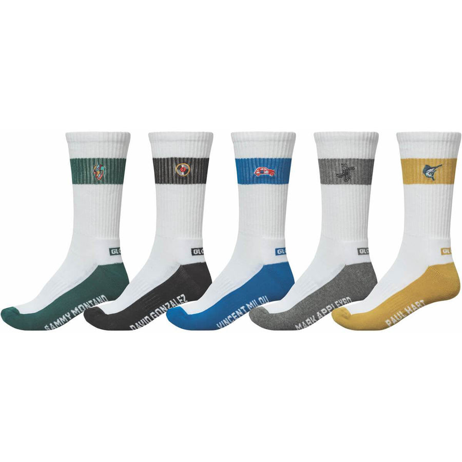 GLOBE Team Crew Socks 5 Pack Assorted