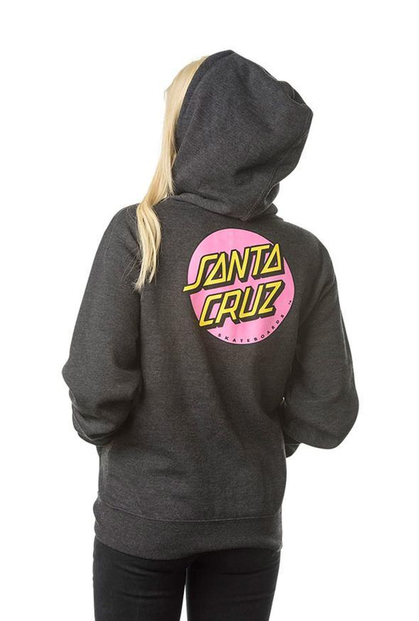 SANTA CRUZ Other Dot Zip Hoodie Women's Charcoal/Heather WOMENS APPAREL - Women's Zip Hoodies Santa Cruz