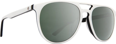 SPY Syndicate Matte White/Black - Happy Grey Green With Silver Spectra Mirror Sunglasses SUNGLASSES - Spy Sunglasses Spy