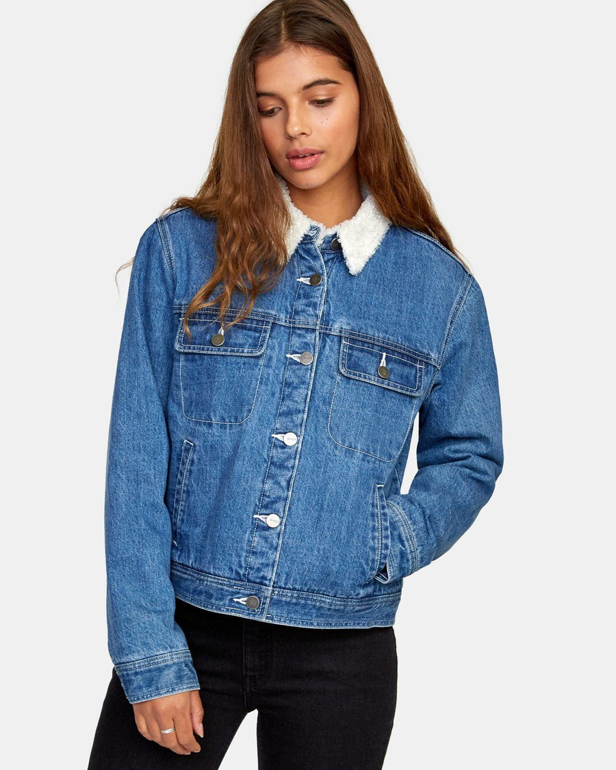 RVCA Spitting Image Denim Jacket Women's Blue Tide