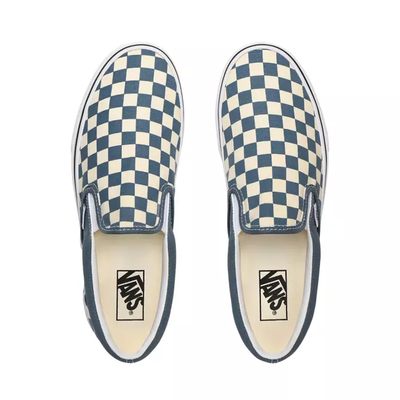 VANS Classic Slip On Shoes Checkerboard Blue Mirage/True White