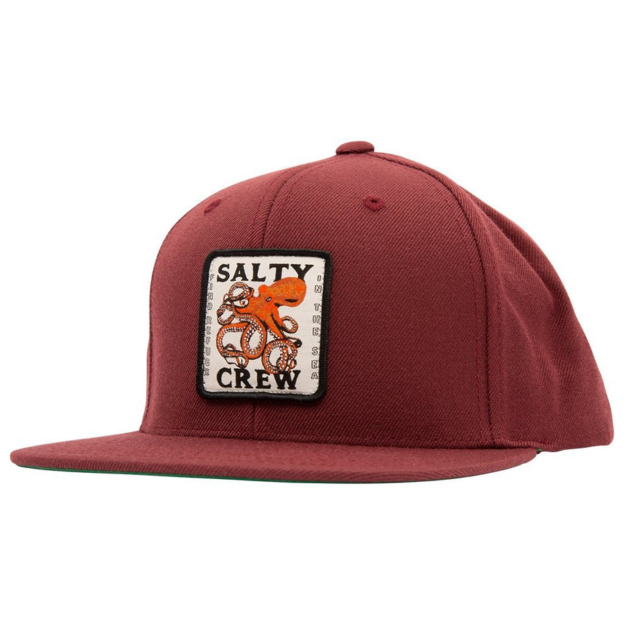 SALTY CREW Squiddy Snapback Hat Burgundy MENS ACCESSORIES - Men's Baseball Hats Salty Crew