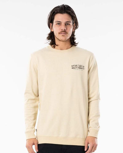 RIP CURL Garage Crew Bone MENS APPAREL - Men's Sweaters and Sweatshirts Rip Curl
