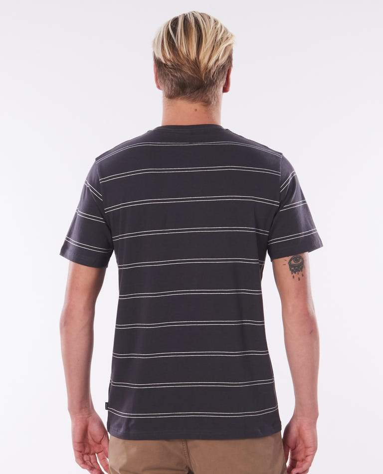 RIP CURL Plain Stripe T-Shirt Washed Black MENS APPAREL - Men's Short Sleeve T-Shirts Rip Curl S