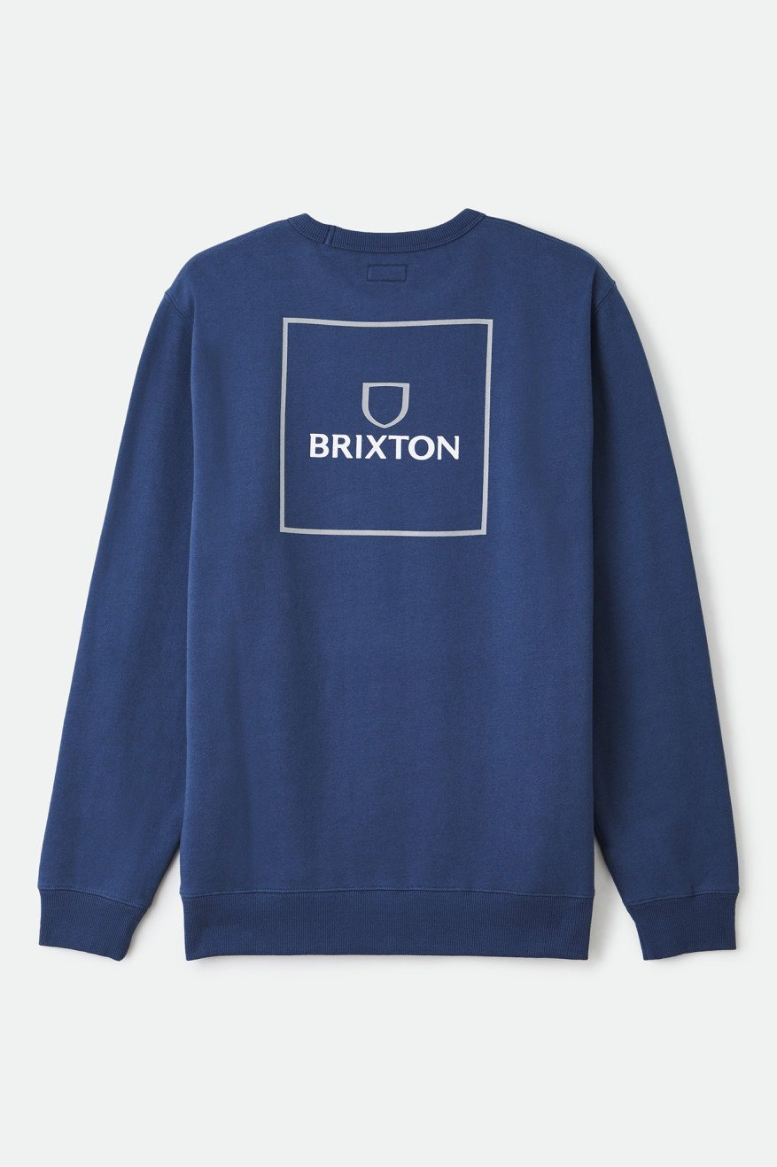 BRIXTON Alpha Square Crew Sweater Joe Blue MENS APPAREL - Men's Sweaters and Sweatshirts Brixton