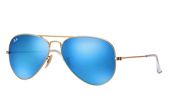 RAY-BAN Aviator Flash 55 Matte Gold - Blue Mirror Flash Sunglasses