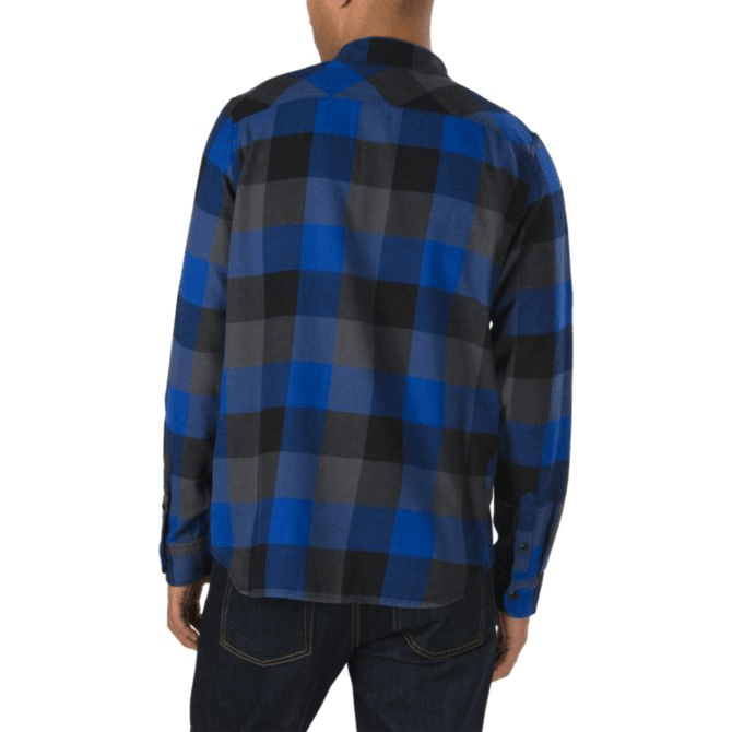 VANS Box Flannel L/S Shirt Mazarine Blue/Asphalt MENS APPAREL - Men's Long Sleeve Button Up Shirts Vans