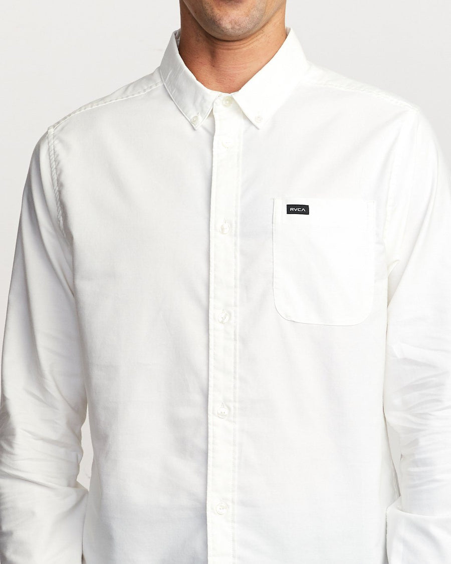 RVCA That'll Do Stretch L/S Button Up Shirt White MENS APPAREL - Men's Long Sleeve Button Up Shirts RVCA