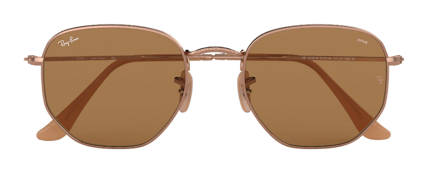 RAY-BAN Hexagonal Washed Evolve 54 Bronze/Copper - Brown Photochromic Evolve Sunglasses SUNGLASSES - Ray-Ban Sunglasses Ray-Ban