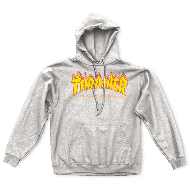 THRASHER Flame Logo Pullover Hoodie Grey MENS APPAREL - Men's Pullover Hoodies Thrasher