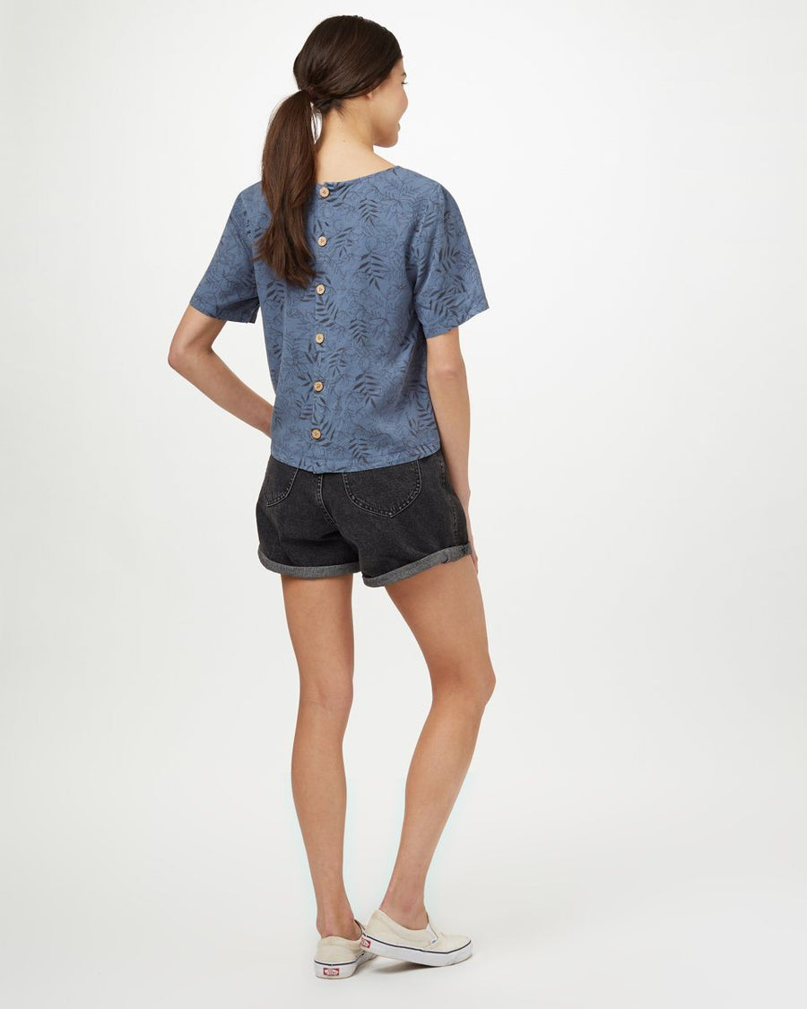 TENTREE Roche Shirt Women's Spruce Blue Floral WOMENS APPAREL - Women's Blouses Tentree