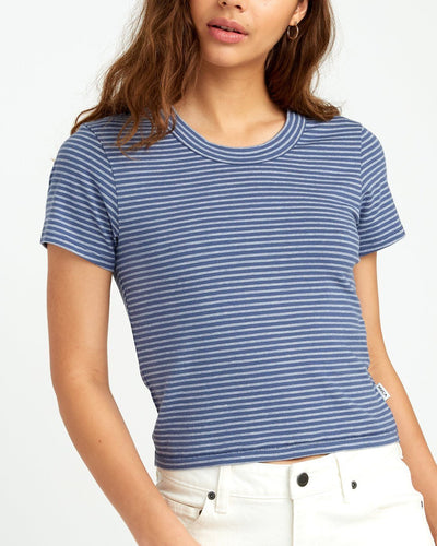 RVCA Fade Out Striped Baby T-Shirt Women's Indigo WOMENS APPAREL - Women's T-Shirts RVCA