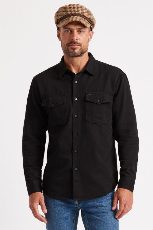 BRIXTON Davis L/S Woven Button Up Black MENS APPAREL - Men's Long Sleeve Button Up Shirts Brixton