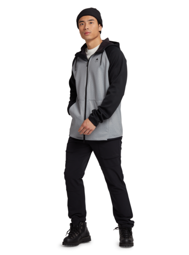 BURTON Crown Weatherproof Full Zip Hoodie Grey Heather/True Black MENS APPAREL - Men's Zip Hoodies Burton